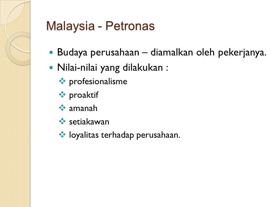 Malaysia - Petronas Budaya perusahaan – diamalkan oleh pekerjanya.