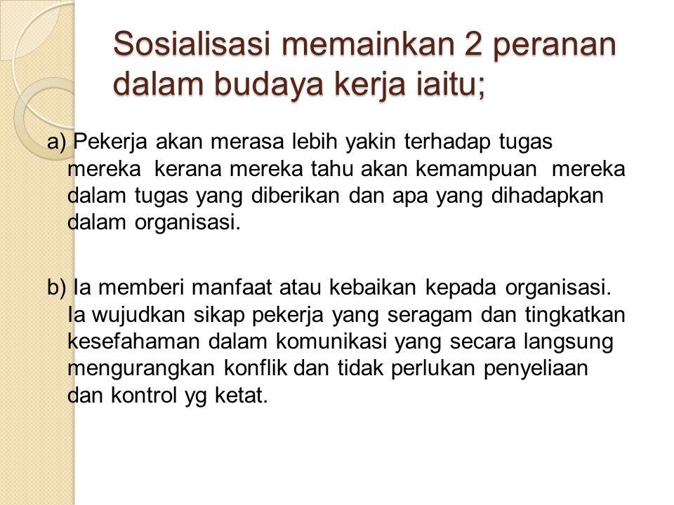 Sosialisasi memainkan 2 peranan dalam budaya kerja iaitu;