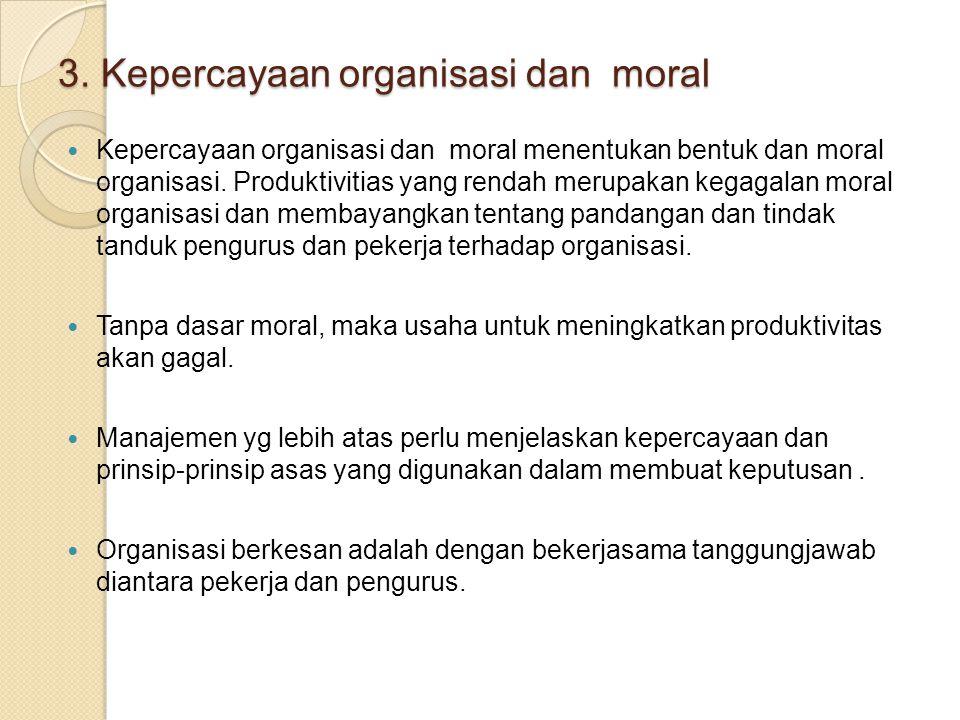 3. Kepercayaan organisasi dan moral