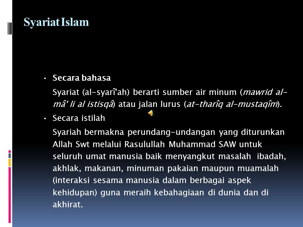 Syariat Islam Secara bahasa