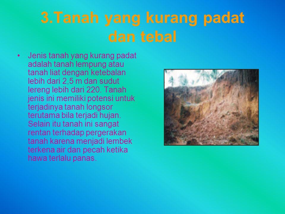 3.Tanah yang kurang padat dan tebal