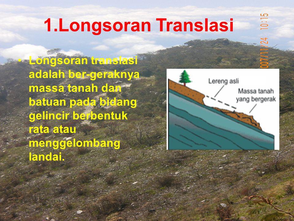 1.Longsoran Translasi Longsoran translasi adalah ber-geraknya massa tanah dan batuan pada bidang gelincir berbentuk rata atau menggelombang landai.
