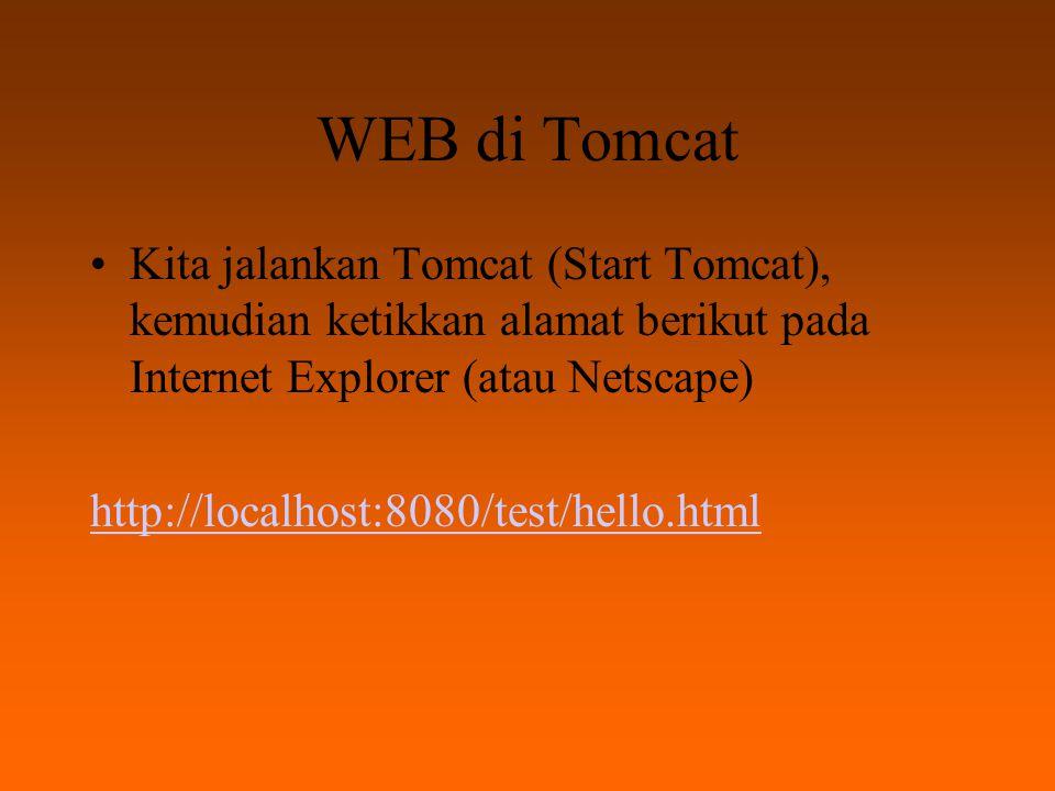 WEB di Tomcat Kita jalankan Tomcat (Start Tomcat), kemudian ketikkan alamat berikut pada Internet Explorer (atau Netscape)