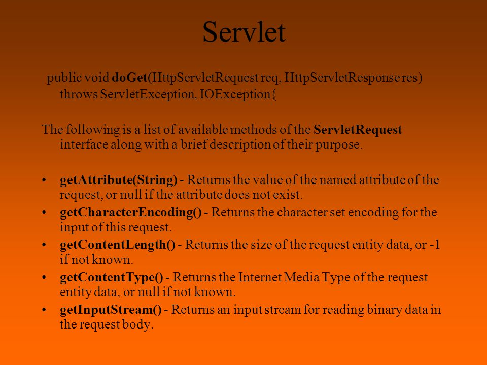 Servlet public void doGet(HttpServletRequest req, HttpServletResponse res) throws ServletException, IOException{