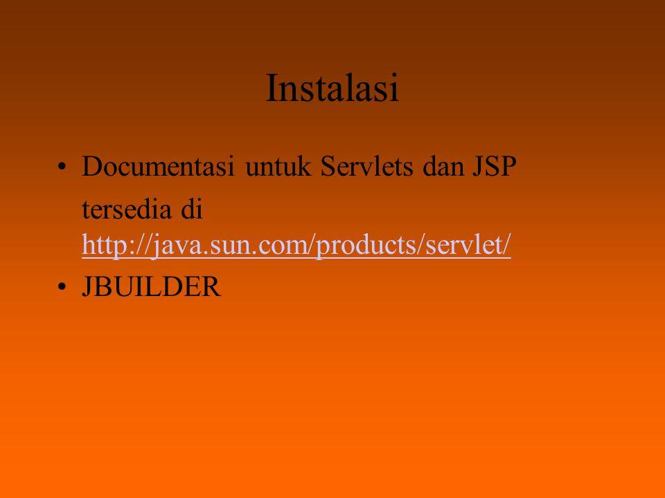 Instalasi Documentasi untuk Servlets dan JSP