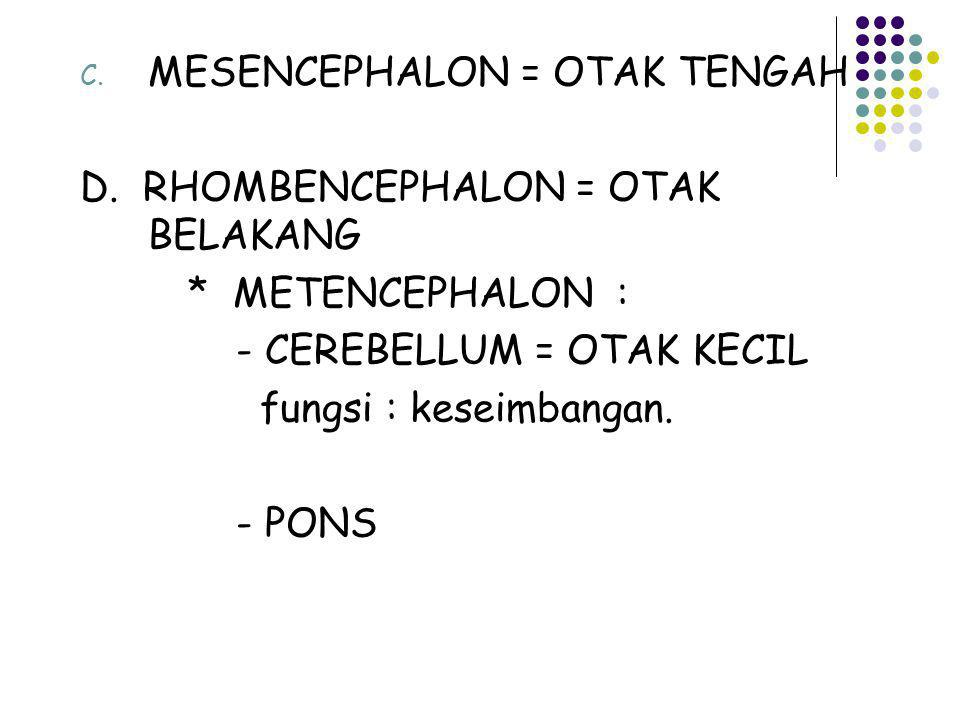 MESENCEPHALON = OTAK TENGAH
