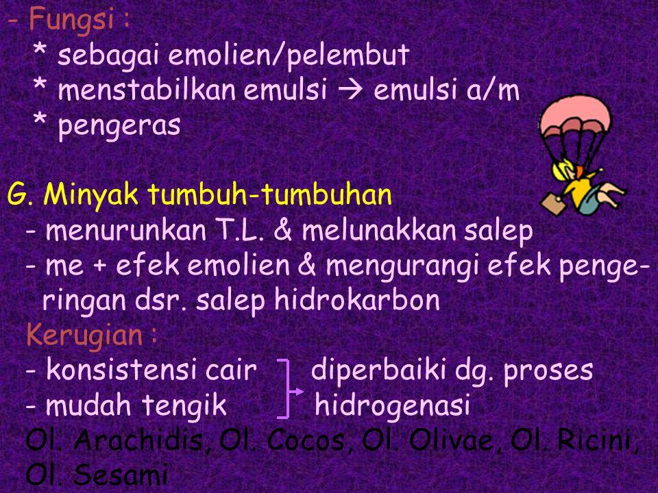 - Fungsi :. sebagai emolien/pelembut. menstabilkan emulsi  emulsi a/m