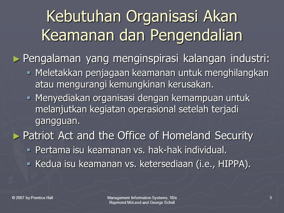 Kebutuhan Organisasi Akan Keamanan dan Pengendalian