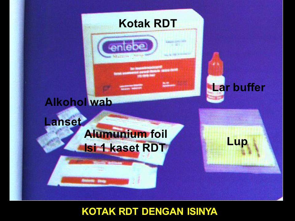 Kotak RDT Lar buffer Alkohol wab Lanset Alumunium foil Isi 1 kaset RDT
