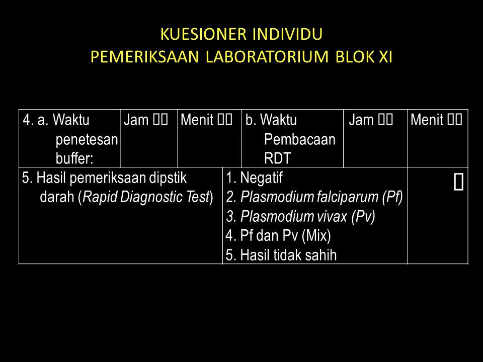 KUESIONER INDIVIDU PEMERIKSAAN LABORATORIUM BLOK XI