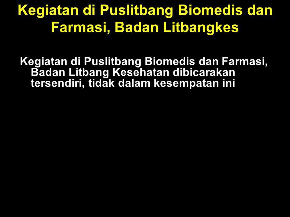 Kegiatan di Puslitbang Biomedis dan Farmasi, Badan Litbangkes
