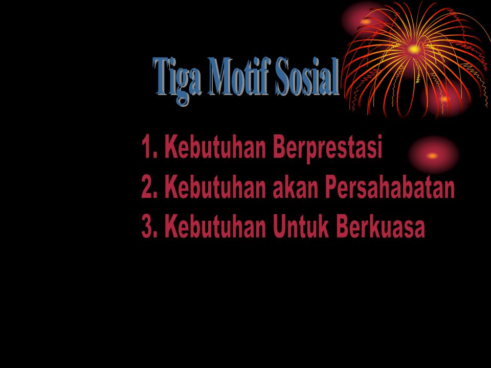 Tiga Motif Sosial 1. Kebutuhan Berprestasi. 2. Kebutuhan akan Persahabatan.
