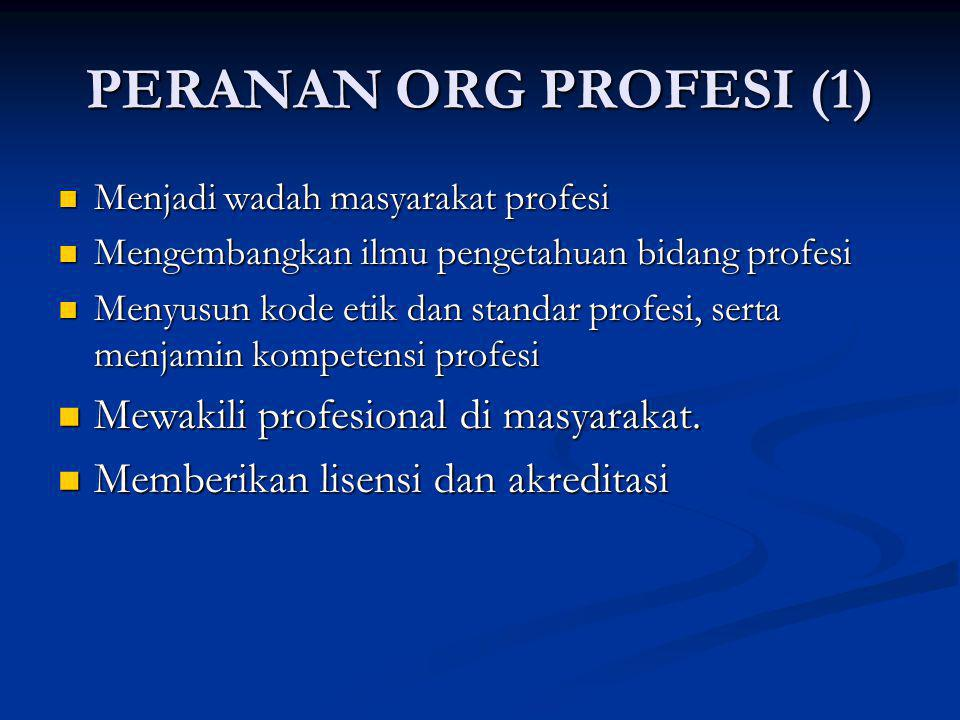 PERANAN ORG PROFESI (1) Mewakili profesional di masyarakat.