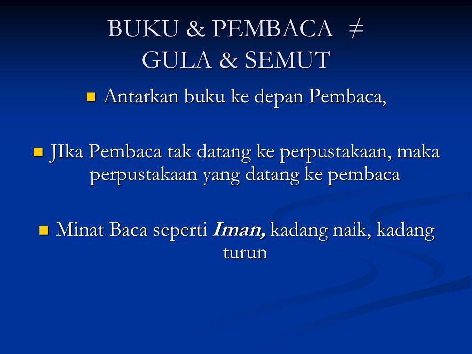 BUKU & PEMBACA ≠ GULA & SEMUT