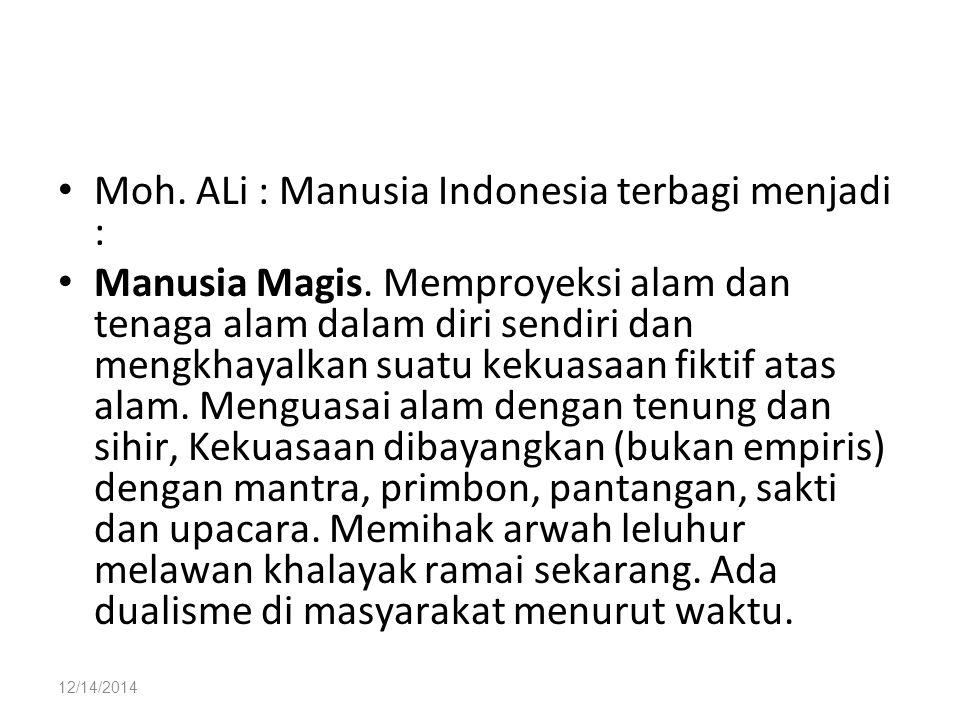 Moh. ALi : Manusia Indonesia terbagi menjadi :