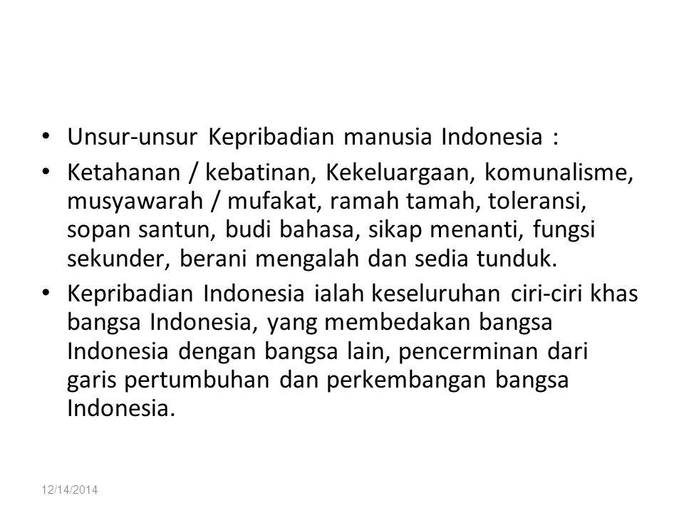 Unsur-unsur Kepribadian manusia Indonesia :