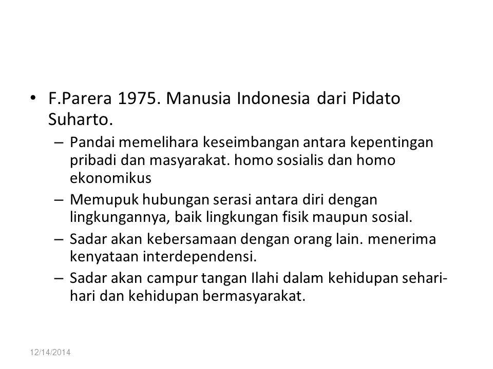 F.Parera 1975. Manusia Indonesia dari Pidato Suharto.