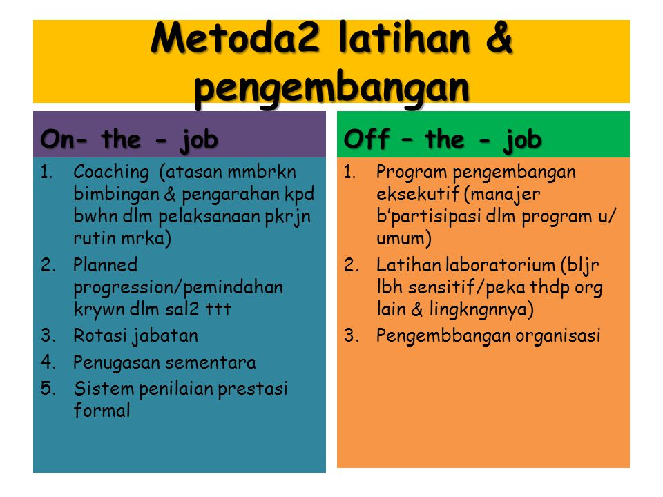 Metoda2 latihan & pengembangan
