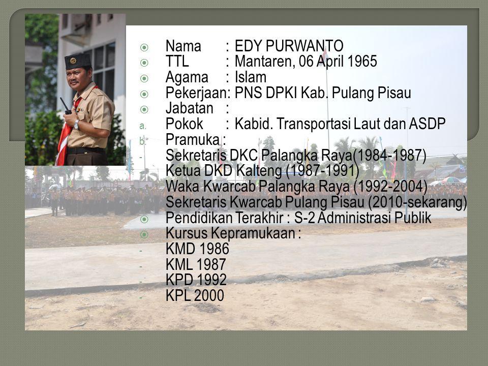 Nama : EDY PURWANTO TTL : Mantaren, 06 April 1965. Agama : Islam. Pekerjaan: PNS DPKI Kab. Pulang Pisau.