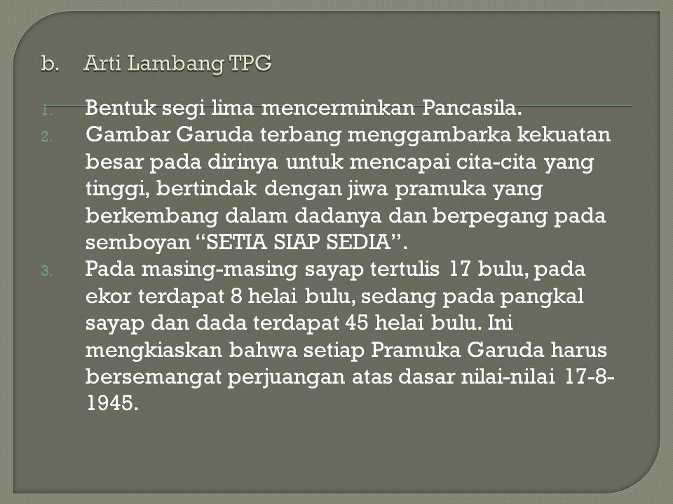 b. Arti Lambang TPG Bentuk segi lima mencerminkan Pancasila.
