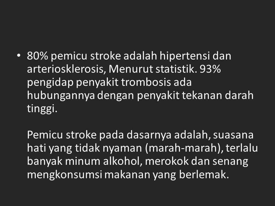80% pemicu stroke adalah hipertensi dan arteriosklerosis, Menurut statistik.