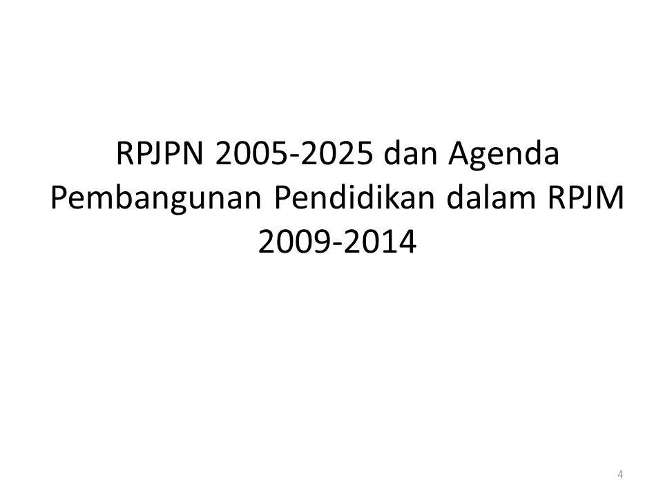 RPJPN 2005-2025 dan Agenda Pembangunan Pendidikan dalam RPJM 2009-2014