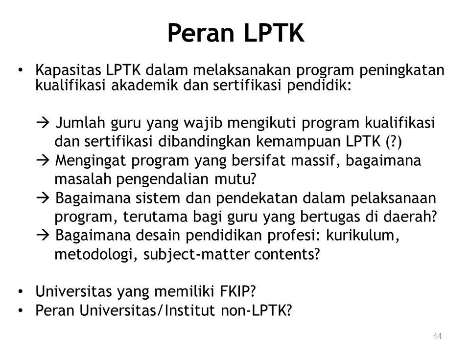 Peran LPTK Kapasitas LPTK dalam melaksanakan program peningkatan kualifikasi akademik dan sertifikasi pendidik: