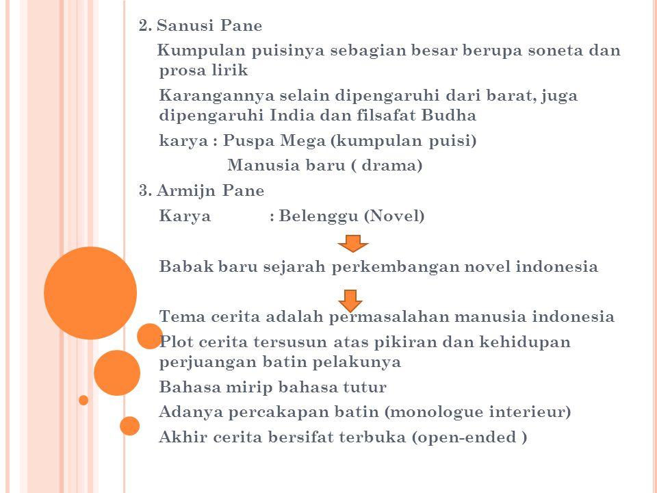 2. Sanusi Pane Kumpulan puisinya sebagian besar berupa soneta dan prosa lirik.