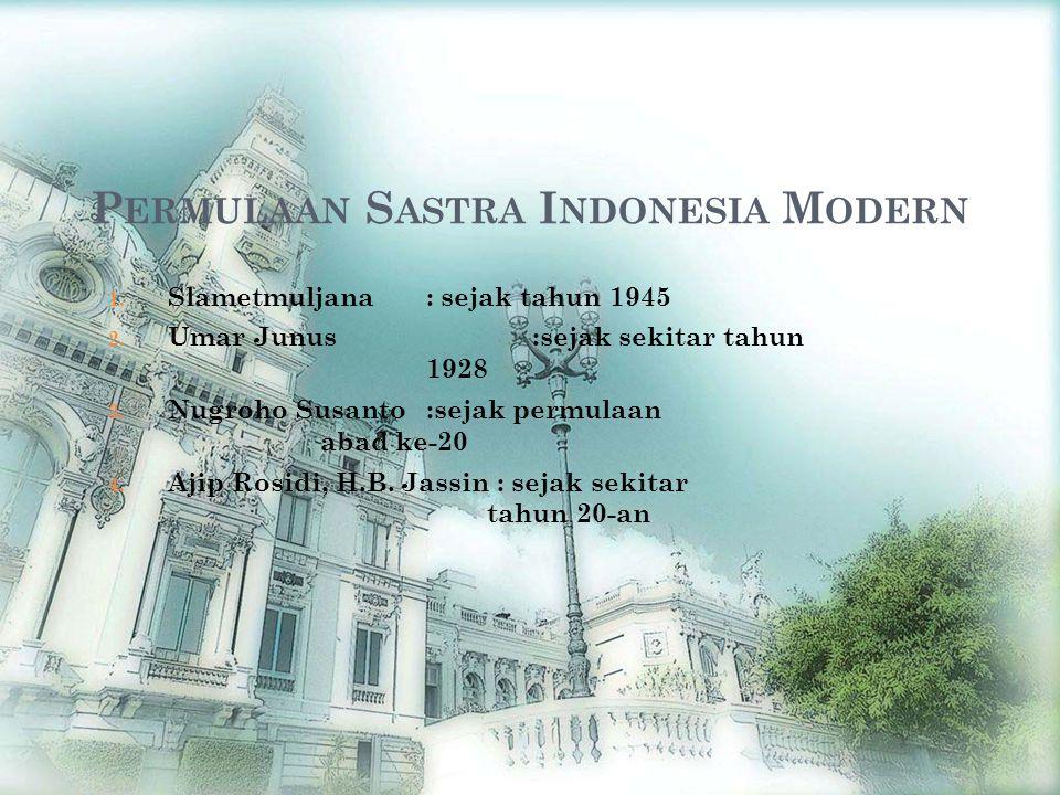 Permulaan Sastra Indonesia Modern