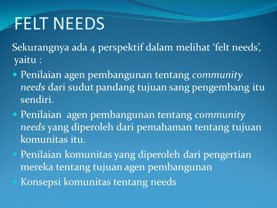 FELT NEEDS Sekurangnya ada 4 perspektif dalam melihat 'felt needs', yaitu :