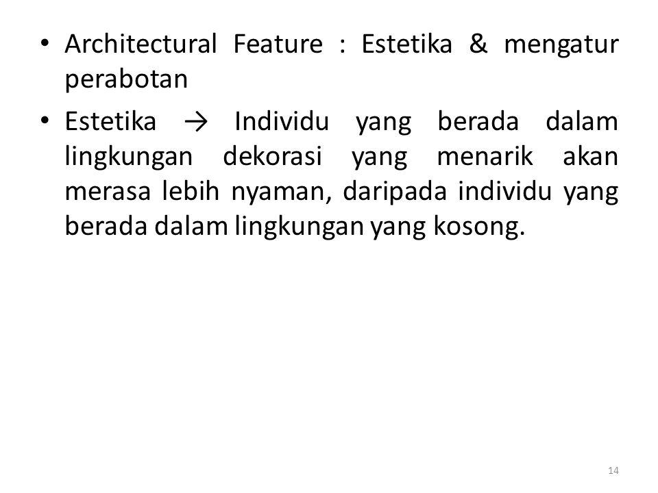 Architectural Feature : Estetika & mengatur perabotan