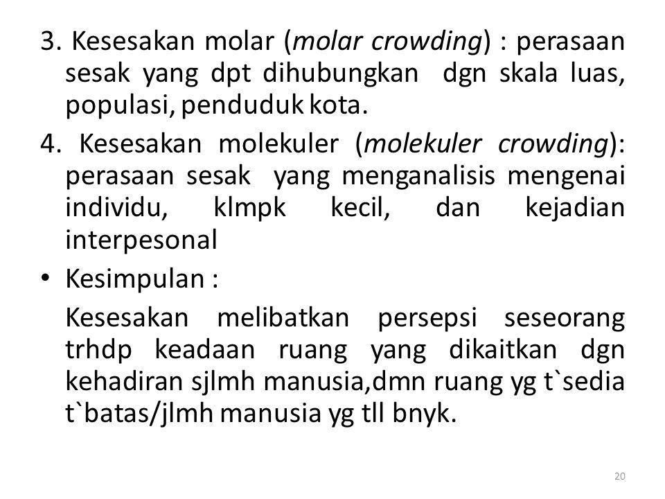 3. Kesesakan molar (molar crowding) : perasaan sesak yang dpt dihubungkan dgn skala luas, populasi, penduduk kota.