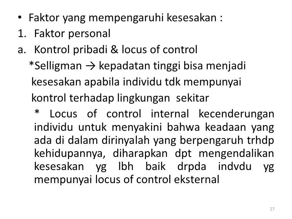 Faktor yang mempengaruhi kesesakan :