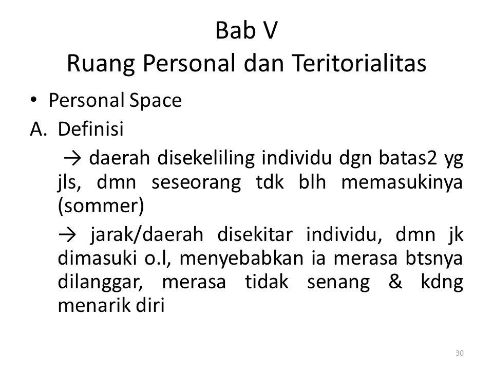 Bab V Ruang Personal dan Teritorialitas