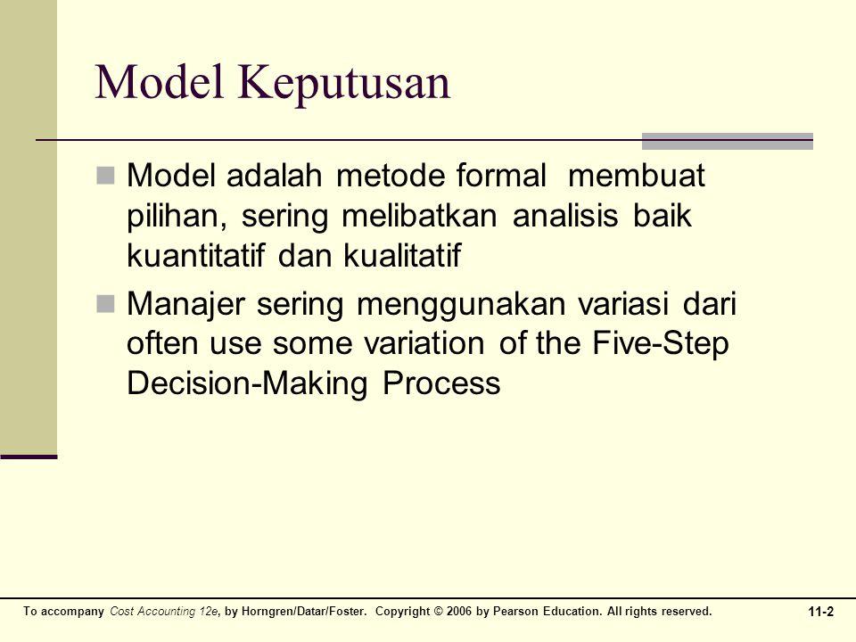 Model Keputusan Model adalah metode formal membuat pilihan, sering melibatkan analisis baik kuantitatif dan kualitatif.