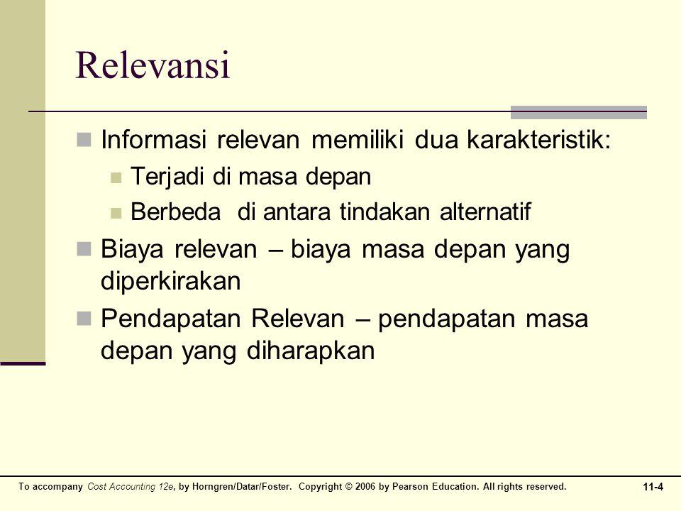 Relevansi Informasi relevan memiliki dua karakteristik: