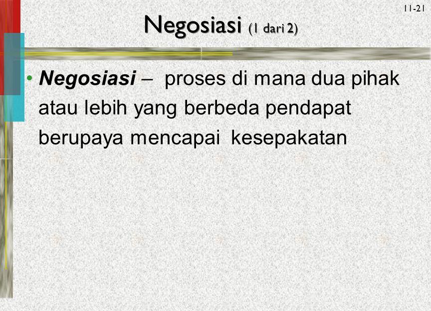 Negosiasi (1 dari 2) Negosiasi – proses di mana dua pihak atau lebih yang berbeda pendapat berupaya mencapai kesepakatan.