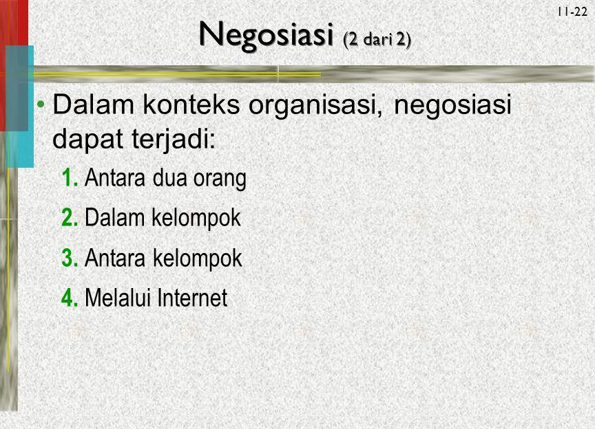 Negosiasi (2 dari 2) Dalam konteks organisasi, negosiasi dapat terjadi: 1. Antara dua orang. 2. Dalam kelompok.