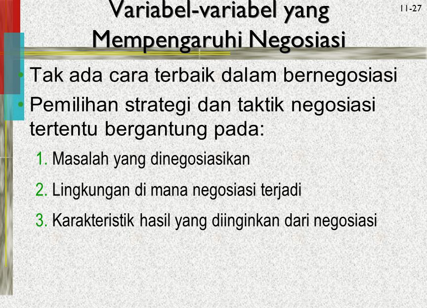 Variabel-variabel yang Mempengaruhi Negosiasi