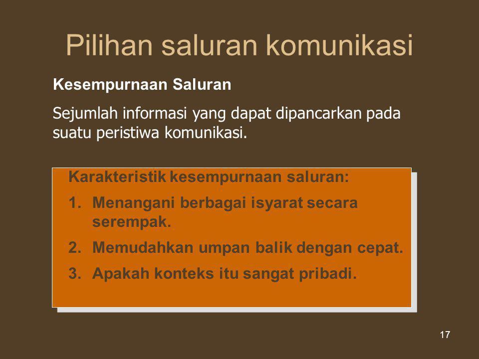 Kesempurnaan Informasi dari Saluran Komunikasi