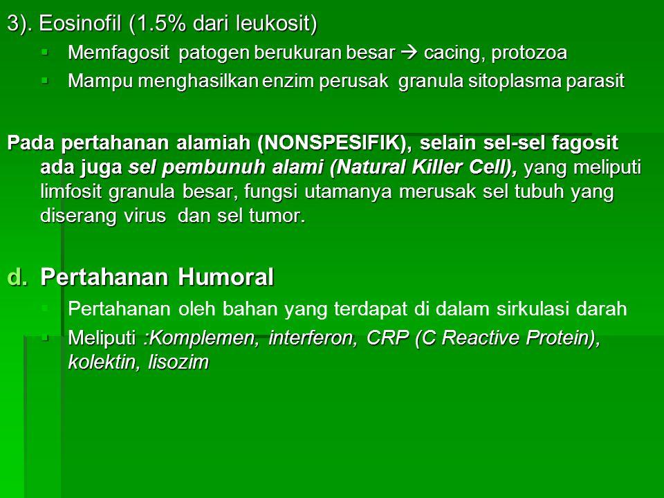 Pertahanan Humoral 3). Eosinofil (1.5% dari leukosit)