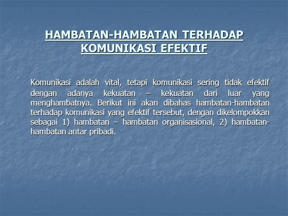 HAMBATAN-HAMBATAN TERHADAP KOMUNIKASI EFEKTIF