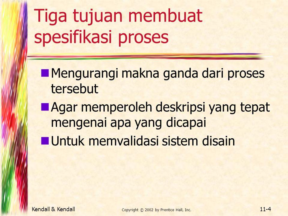 Tiga tujuan membuat spesifikasi proses