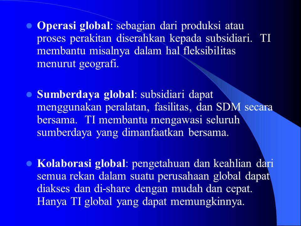 Operasi global: sebagian dari produksi atau proses perakitan diserahkan kepada subsidiari. TI membantu misalnya dalam hal fleksibilitas menurut geografi.