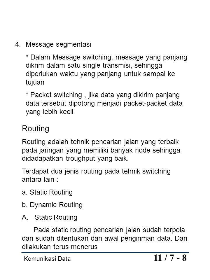 Routing Message segmentasi