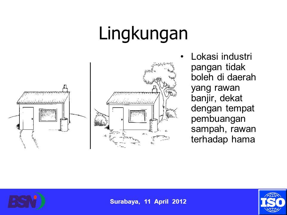 Lingkungan Lokasi industri pangan tidak boleh di daerah yang rawan banjir, dekat dengan tempat pembuangan sampah, rawan terhadap hama.