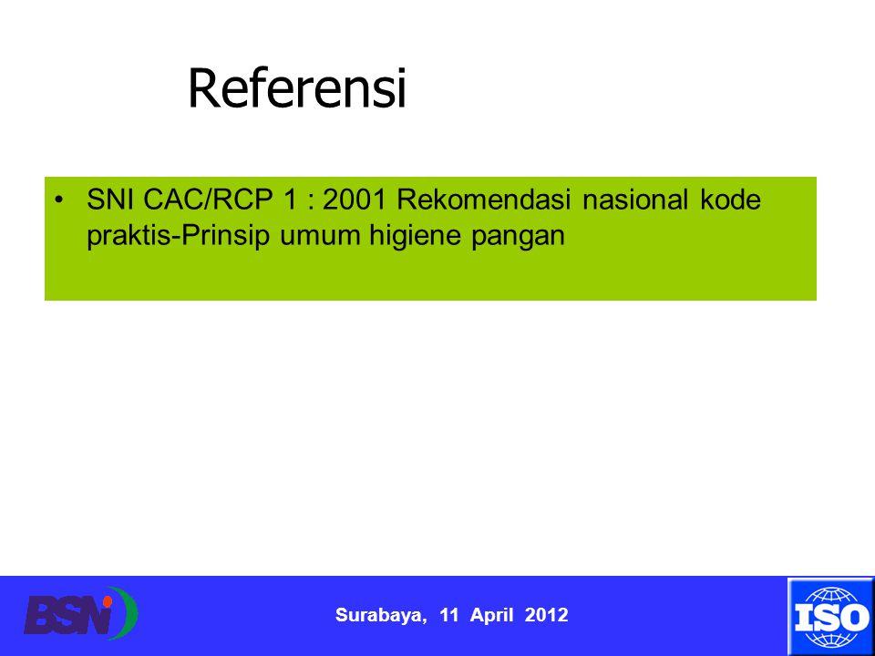 Referensi SNI CAC/RCP 1 : 2001 Rekomendasi nasional kode praktis-Prinsip umum higiene pangan