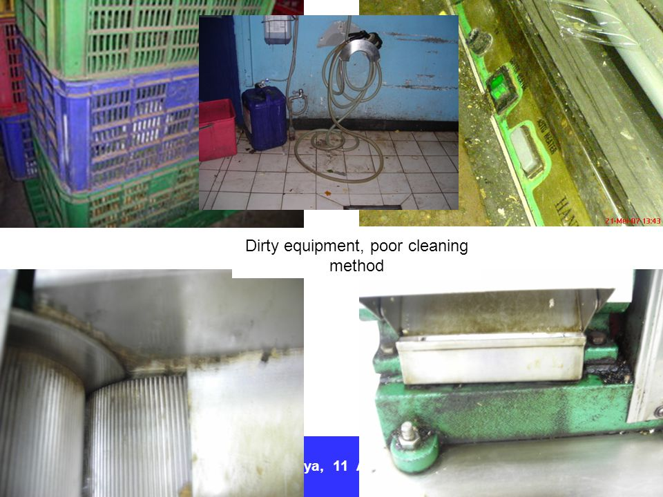 Dirty equipment, poor cleaning method