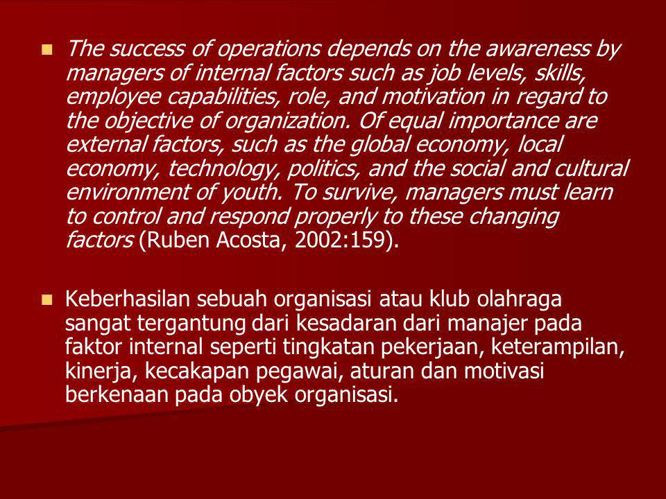 The success of operations depends on the awareness by managers of internal factors such as job levels, skills, employee capabilities, role, and motivation in regard to the objective of organization. Of equal importance are external factors, such as the global economy, local economy, technology, politics, and the social and cultural environment of youth. To survive, managers must learn to control and respond properly to these changing factors (Ruben Acosta, 2002:159).