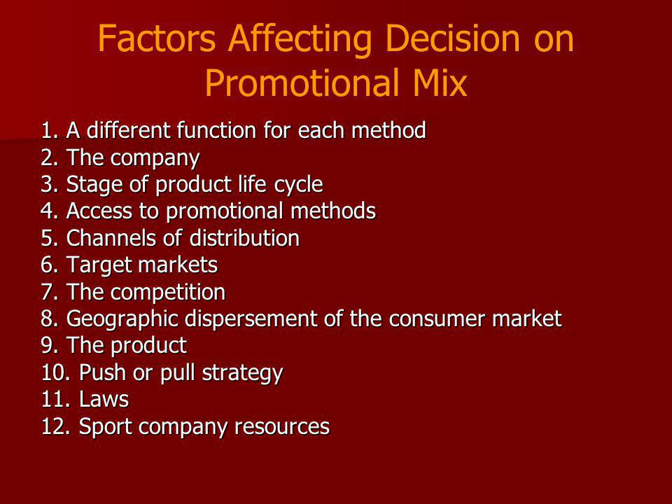 Factors Affecting Decision on Promotional Mix